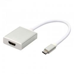 CABLE TIPO C USB 3.1-HDMI HEMBRA PLATA