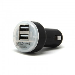 Adaptador Mechero a 2 Usb Redondo Negro