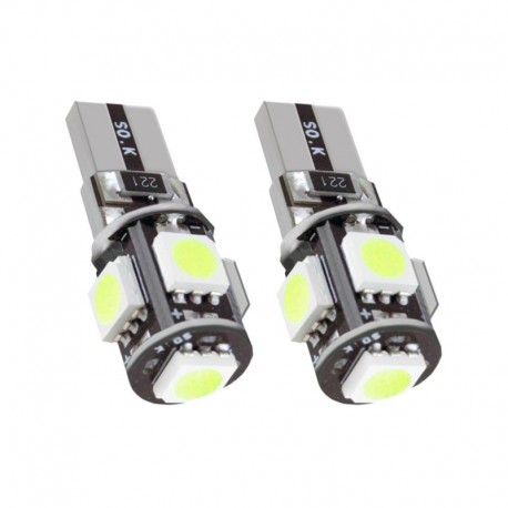 2 BOMBILLAS COCHE T10 5 SMD LED CANBUS