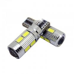 2 Bombillas LED 10SMD T10 W5W para Coche
