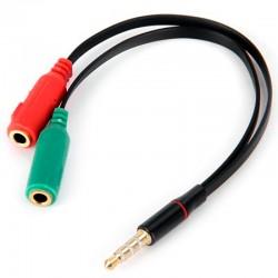 Cable de Jack 3,5mm Macho a Doble Jack Hembra
