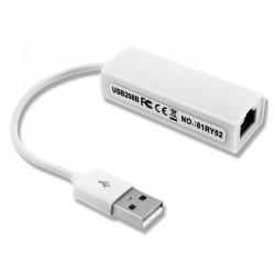 Tarjeta de Red RJ45 USB 2.0 Cable Blanco