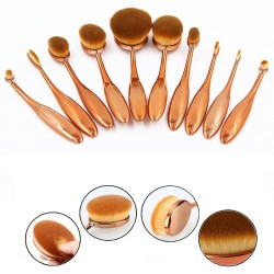 Set de 10 Pinceles Ovales de Maquillaje