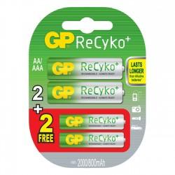 Pack de 4 Pilas Recargables GP ReCyko+ AAA y AA