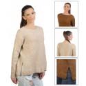Suéter de Cuello Redondo para Mujer Beige / Marron