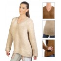 Suéter de Cuello en Pico para Mujer Beige / Marron