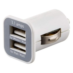 Adaptador Usams Mechero a 2 Usb Blanco