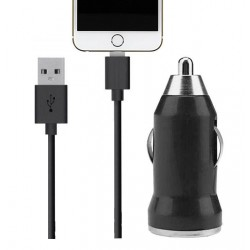 ADAPTADOR MECHERO + CABLE IPHONE NEGRO